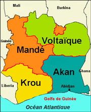 Carte des r�gions en C�te d'Ivoire